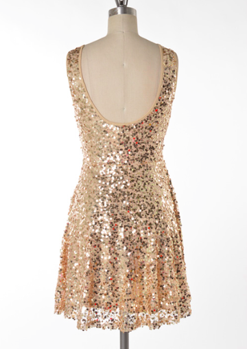 midnight rendezvous gold sequin darling party dress - shophearts - 4