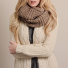 thick cozy knit infinity scarf mocha - shophearts - 2