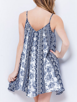 final sale - sunday brunch flowy day dress | navy print - shophearts - 7