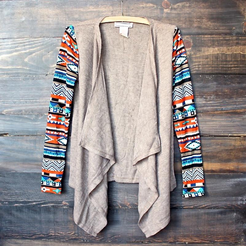 lightweight open front cascading cardigan with aztec print sleeves - taupe - shophearts - 1