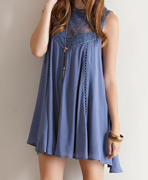 slate blue boho crochet lace dress - shophearts - 5