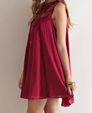 burgundy boho crochet lace dress - shophearts - 6