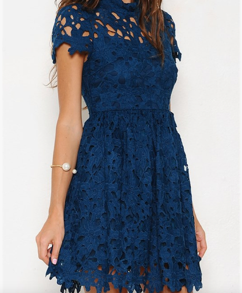 final sale - floral lace applique dress with cap sleeves in teal - shophearts - 1