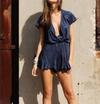 Lioness pur-suede me with ruffle hem romper in navy suede - shophearts - 4