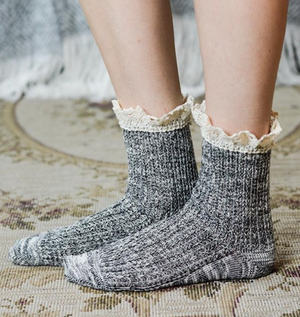 marled crew socks with lace (6 colors) - shophearts - 11