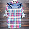 button up plaid shirt with dazzling blue sequins - shophearts - 1