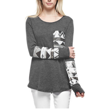 Chevron Sequin Aztec Sleeve Tunic in More Colors