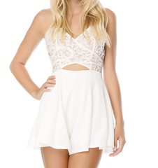 coco lace front wrap romper in ivory - shophearts - 7