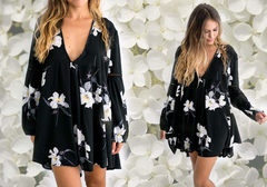 hazel the label - tahiti baby doll floral tunic dress with lace inset - shophearts - 2