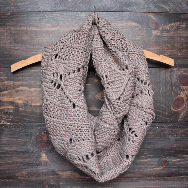 Knit Leaf Pattern Infinity Scarf More Colors Shophearts