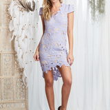 first day lilac floral appliqué bodycon dress - shophearts - 1
