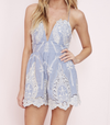 lace one piece embellished embroidered denim romper - shophearts - 5