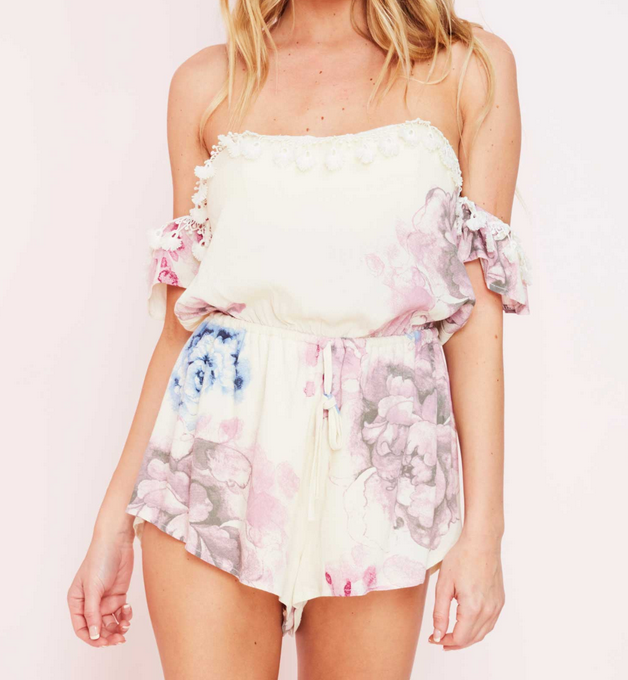 pastel floral print off the shoulder strapless romper - cream - shophearts - 5