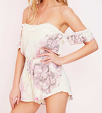 pastel floral print off the shoulder strapless romper - cream - shophearts - 7