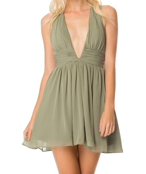 lost valley deep plunge dress in olive - shophearts - 6