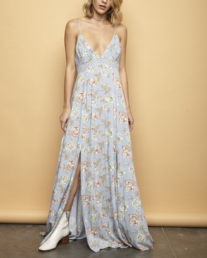 open back floral maxi - sky blue - shophearts - 5