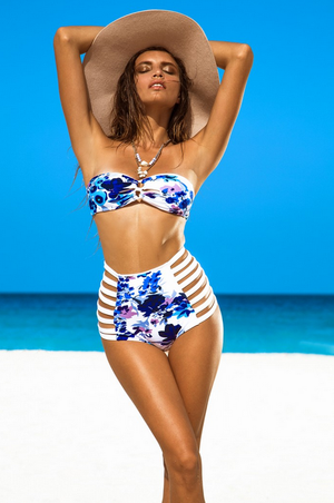 khongboon swimwear - isola handmade floral print high waisted cutout set - shophearts - 3