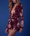 girl crush long sleeve floral romper with ruffle hem in burgundy - shophearts - 5