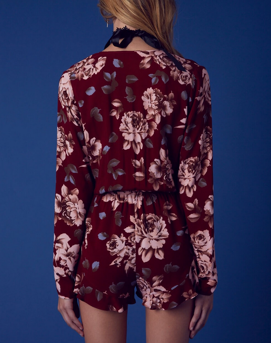 girl crush long sleeve floral romper with ruffle hem in burgundy - shophearts - 7