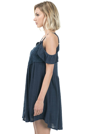 gauzy flutter sleeve boho dress - navy - shophearts - 5