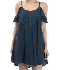 gauzy flutter sleeve boho dress - navy - shophearts - 6