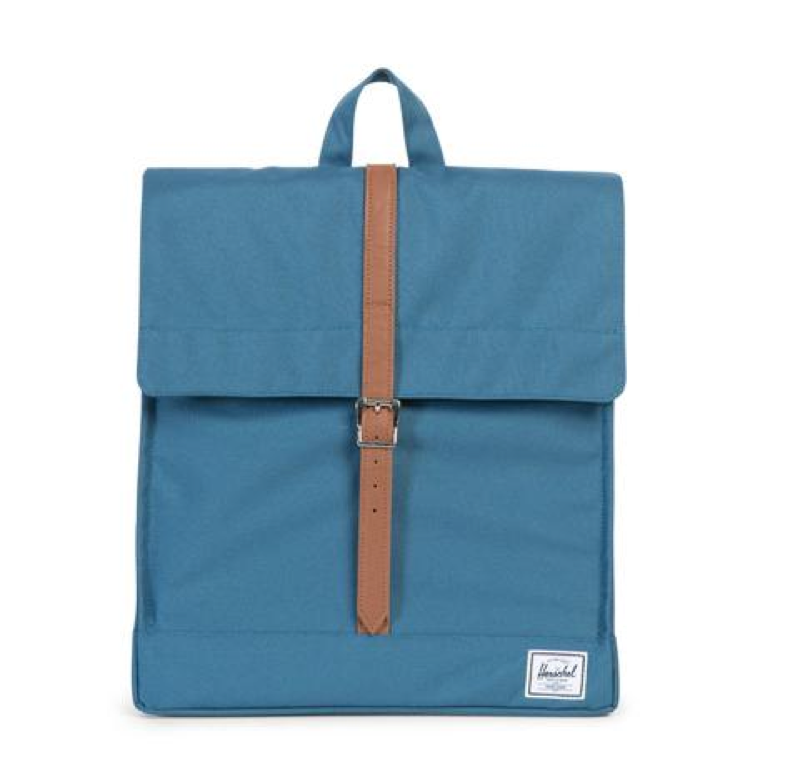 Herschel Supply - City Backpack | Mid-Volume - Indian Teal/Tan Synthetic Leather - shophearts - 3