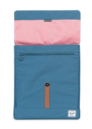 Herschel Supply - City Backpack | Mid-Volume - Indian Teal/Tan Synthetic Leather - shophearts - 4