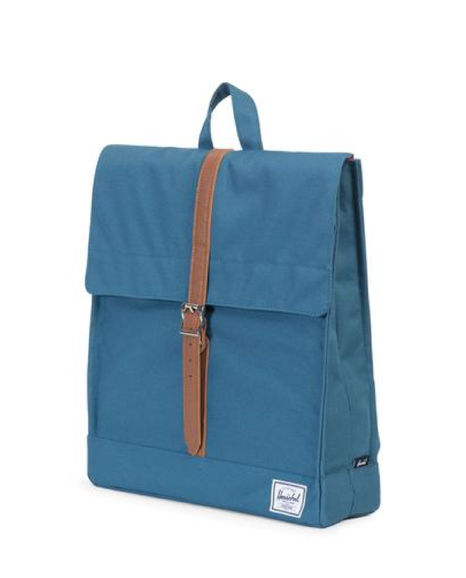 Herschel Supply - City Backpack | Mid-Volume - Indian Teal/Tan Synthetic Leather - shophearts - 5