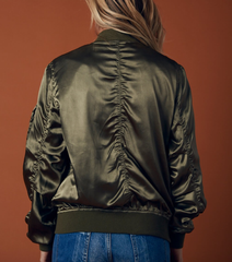 lightweight satin bomber jacket - olive - shophearts - 7