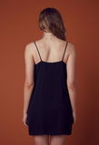 kate satin shift slip dress - black - shophearts - 4