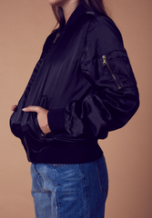 padded satin bomber jacket - black - shophearts - 3