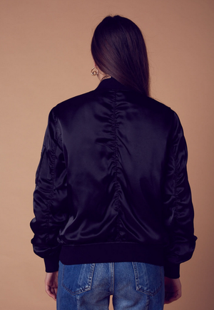 padded satin bomber jacket - black - shophearts - 4