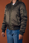 padded satin bomber jacket - olive - shophearts - 5