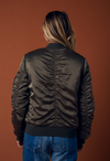 padded satin bomber jacket - olive - shophearts - 6