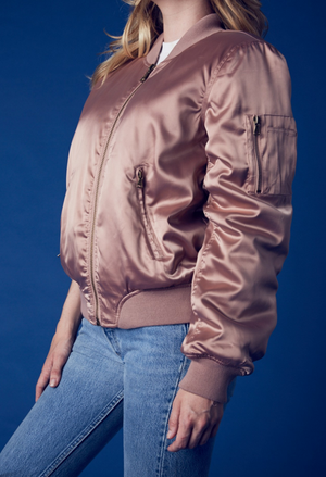padded satin bomber jacket - mauve - shophearts - 5