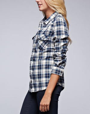 vintage affair soft button up womens plaid flannel long sleeve shirt - navy/blue - shophearts - 4