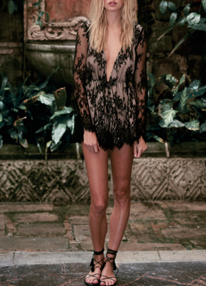 the jetset diaries - dulce deep plunge lace romper in black - shophearts - 4