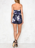garden party - navy floral print strapless ruffle romper - shophearts - 3