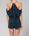 pleated peek a boo shoulder romper in teal - shophearts - 8