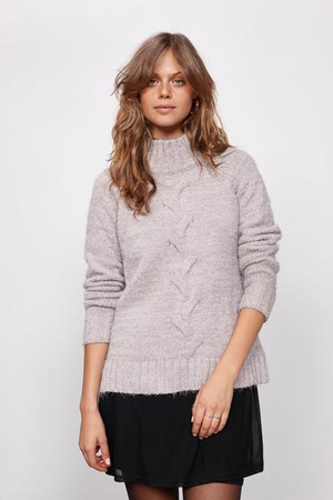 minkpink - now & then mock neck chunky knit sweater - light grey - shophearts - 2