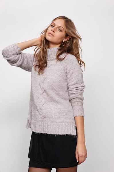 minkpink - now & then mock neck chunky knit sweater - light grey - shophearts - 4