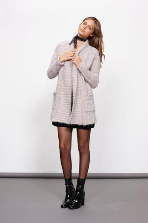 minkpink - now & then chunky knit sweater coat - light grey - shophearts - 5