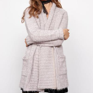 minkpink - now & then chunky knit sweater coat - light grey - shophearts - 1