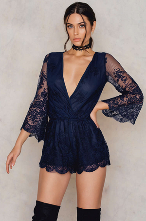 lioness - road to nowhere gauzy lace romper with bell sleeves - more colors