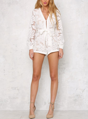 dark magnolia - constructed romper with nude lining - white - shophearts - 2