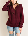 all tied up lace-up front sweater - burgundy - shophearts - 5