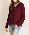 all tied up lace-up front sweater - burgundy - shophearts - 6