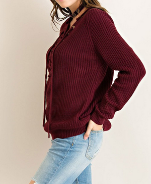 all tied up lace-up front sweater - burgundy - shophearts - 7