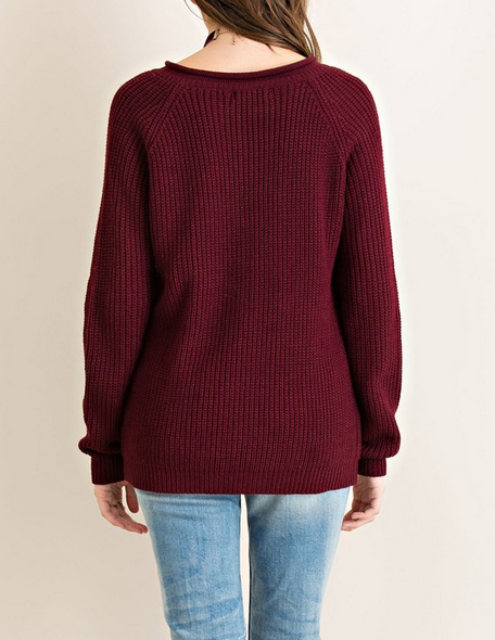 all tied up lace-up front sweater - burgundy - shophearts - 8 2505474cd