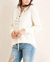 all tied up lace-up front sweater - natural - shophearts - 4